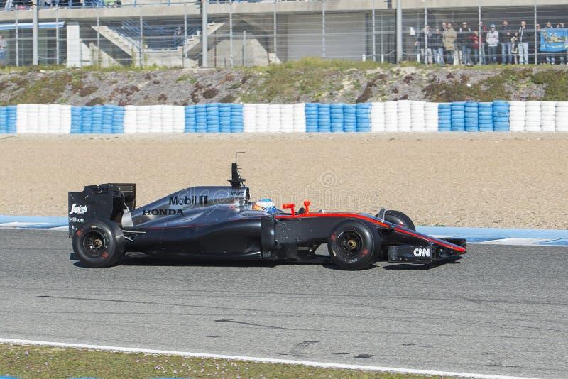 Fórmula 1, 2015: Fernando Alonso, McLaren-Honda imagen de archivo libre de regalías