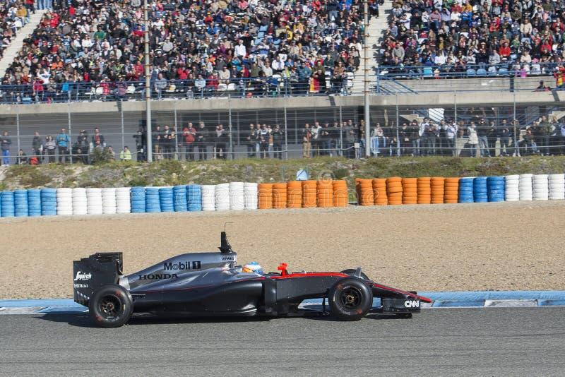 Fórmula 1, 2015: Fernando Alonso, McLaren-Honda foto de archivo libre de regalías