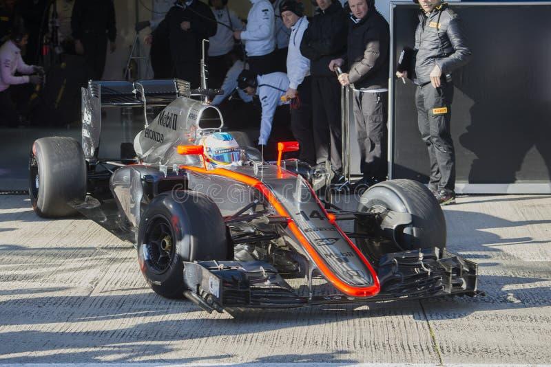 Fórmula 1, 2015: Fernando Alonso, McLaren-Honda imágenes de archivo libres de regalías