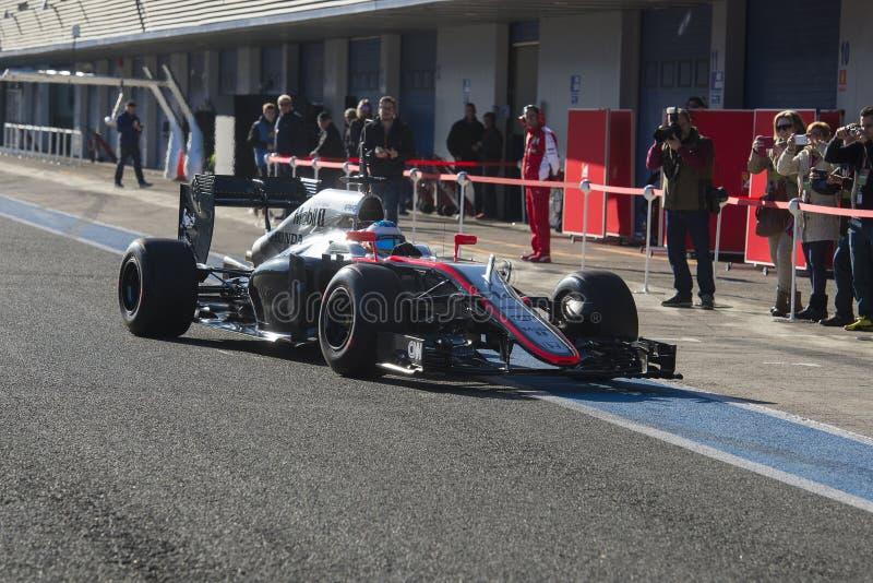 Fórmula 1, 2015: Fernando Alonso, McLaren-Honda fotografía de archivo libre de regalías