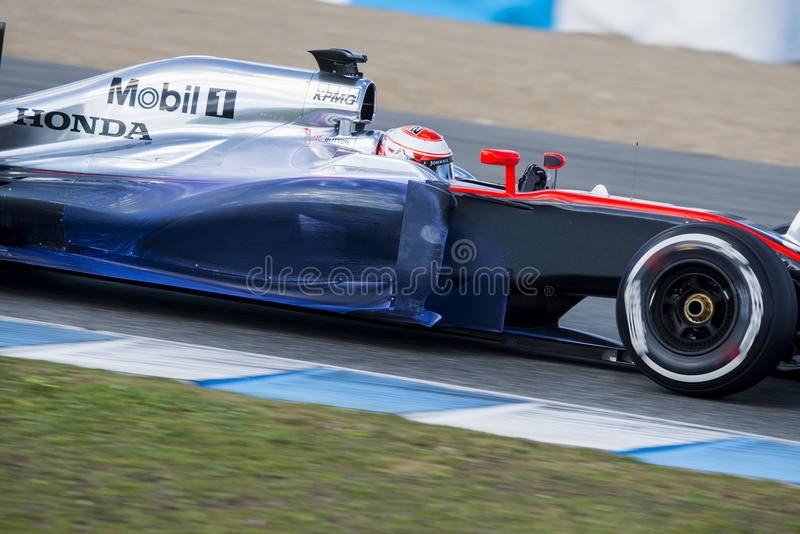 Fórmula 1, 2015: Jenson Button, McLaren-Honda imagen de archivo libre de regalías
