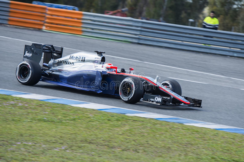 Fórmula 1, 2015: Jenson Button, McLaren-Honda imagenes de archivo