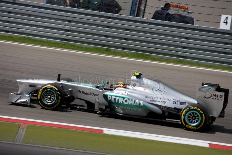 Fórmula 1 Mercedes Car da foto F1: Lewis Hamilton fotografia de stock