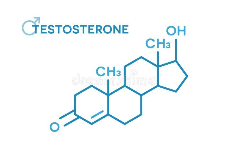 Fórmula molecular de las hormonas de la testosterona Símbolo de la hormona de sexo ilustración del vector