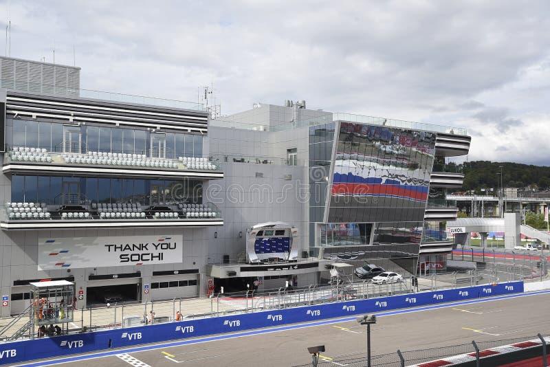 Fórmula 1 2018 O prix grande sochi 2018 da tribuna principal imagem de stock
