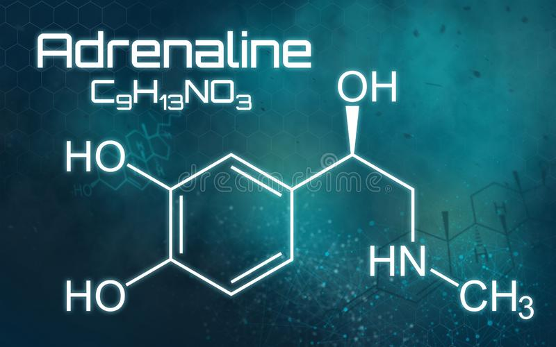 Fórmula química da adrenalina ilustração stock