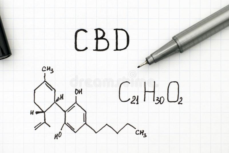 Fórmula química de Cannabidiol CBD com pena preta fotos de stock