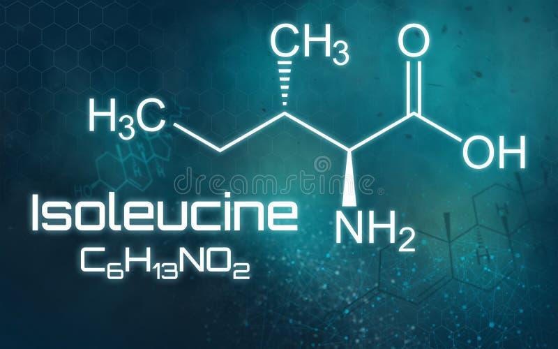 Fórmula química de la isoleucina en un fondo futurista libre illustration