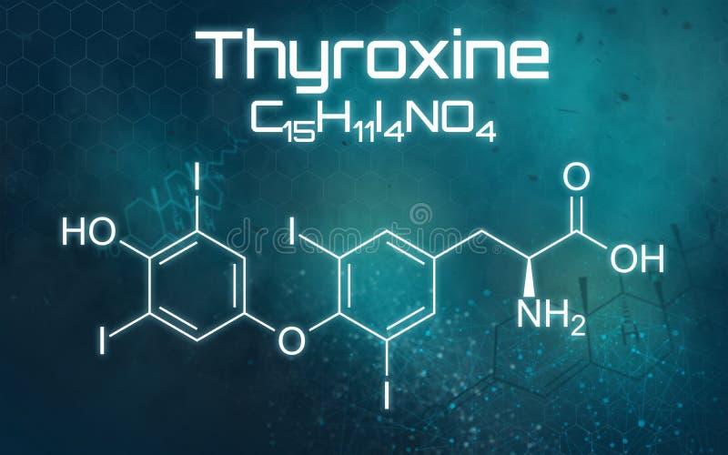 Fórmula química de la tiroxina en un fondo futurista ilustración del vector