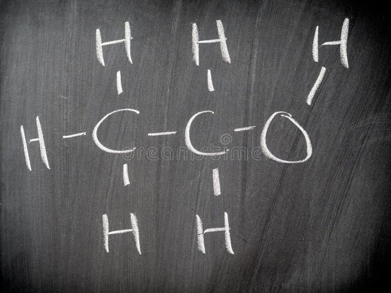 Fórmula química del etanol imágenes de archivo libres de regalías