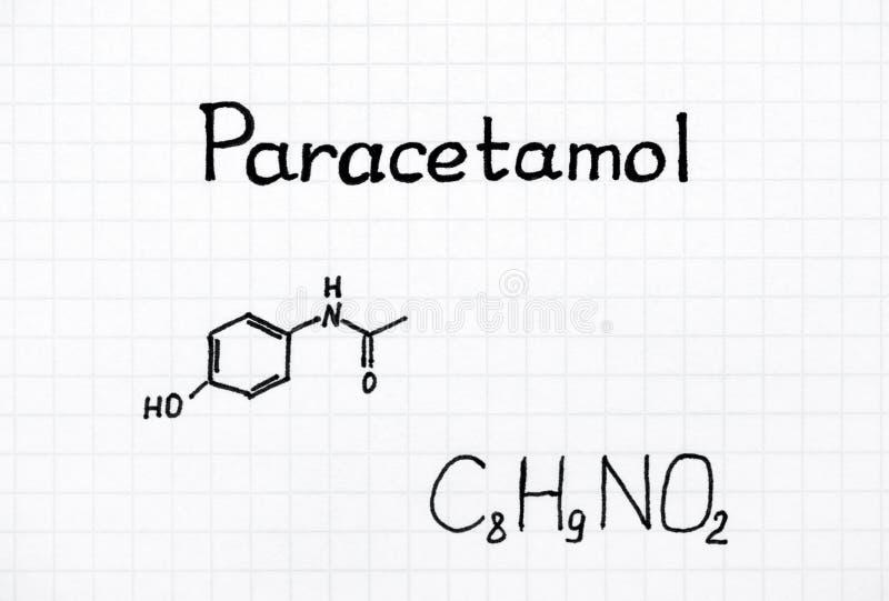 Fórmula química do paracetamol imagem de stock royalty free