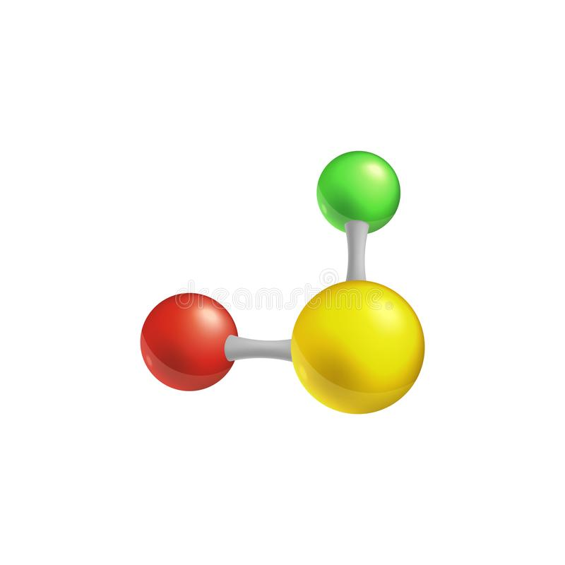 Fórmula química e modelo de cor 3d estruturais de uma molécula com vetor de dois átomos ilustração do vetor