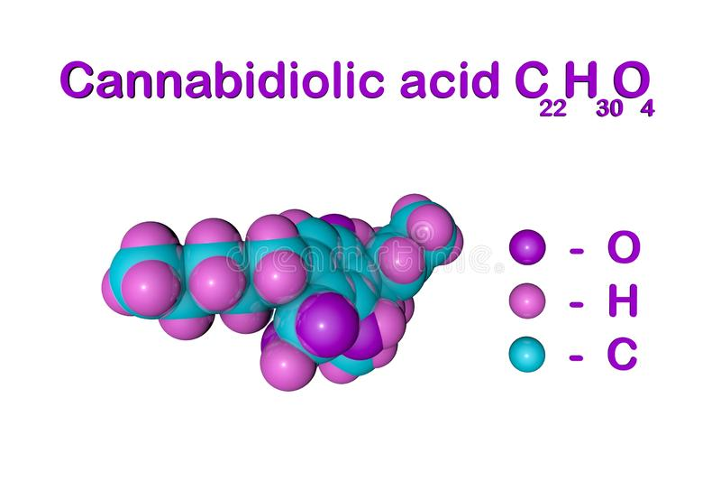 Fórmula química estructural y modelo molecular del ácido cannabidiolic CBDA, un ingrediente activo en el cáñamo derivado stock de ilustración