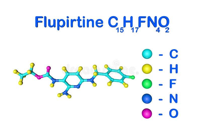 Fórmula química estructural y modelo molecular del flupirtine Flupirtine se utiliza para tratar dolor agudo y crónico stock de ilustración