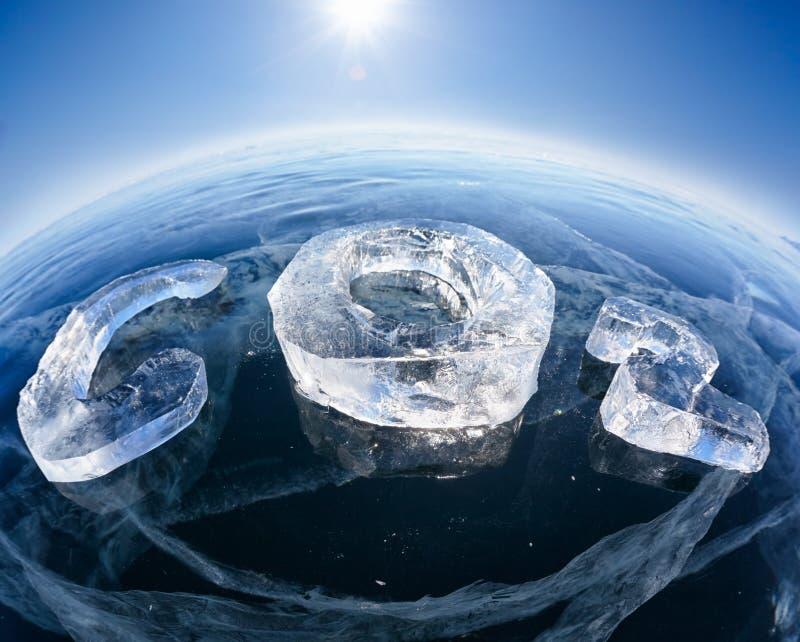 Fórmula química gelada do CO2 do dióxido de carbono fotos de stock royalty free