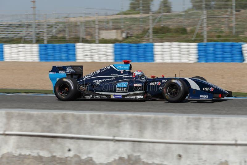 Fórmula Renault 3 5 séries 2014 - Marco Sorensen - tecnologias 1 que competem imagens de stock royalty free