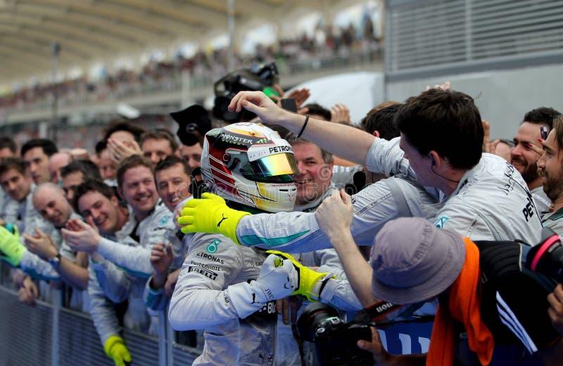 Fórmula 1 Sepang do vencedor, Malásia 2014 foto de stock royalty free