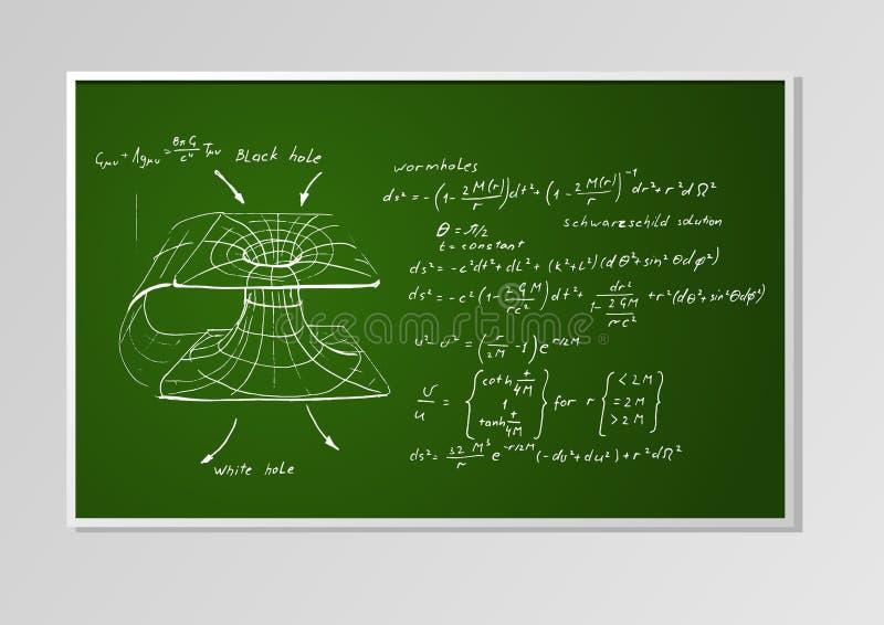 Fórmula y gráfico en un tablero ilustración del vector