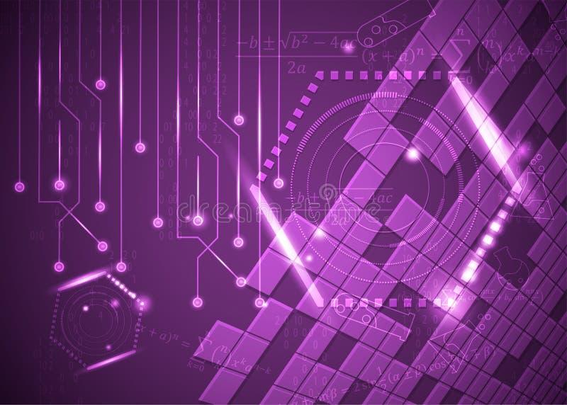 Fórmulas abstratas de background_11_of, código, sinais e placas matemáticas, conceito de projeto da tecnologia digital e ciência ilustração do vetor