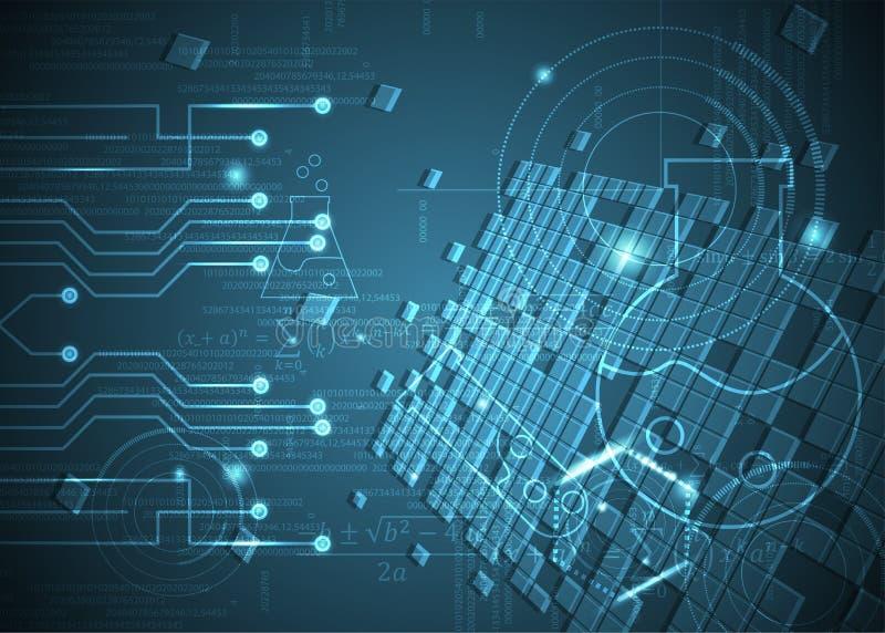Fórmulas abstratas de background_14_of, código, sinais e placas matemáticas, conceito de projeto da tecnologia digital e ciência ilustração royalty free