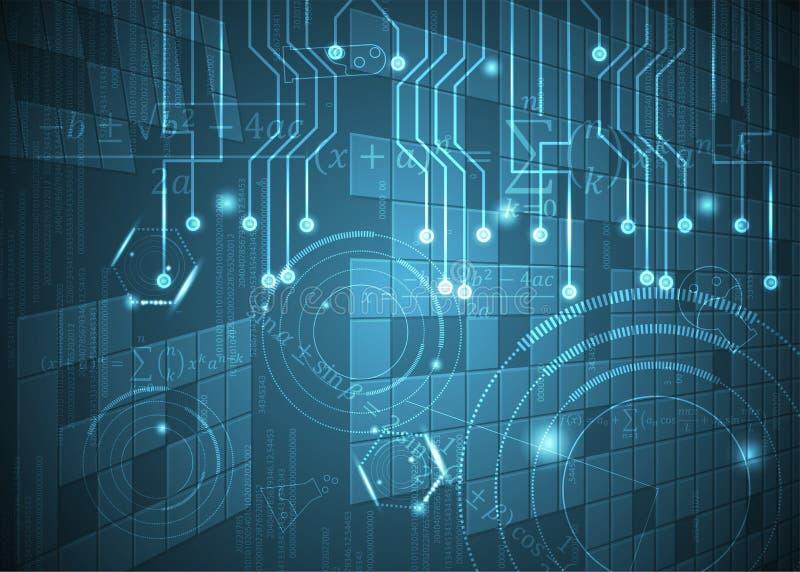 Fórmulas abstratas de background_18_of, código, sinais e placas matemáticas, conceito de projeto da tecnologia digital e ciência ilustração stock