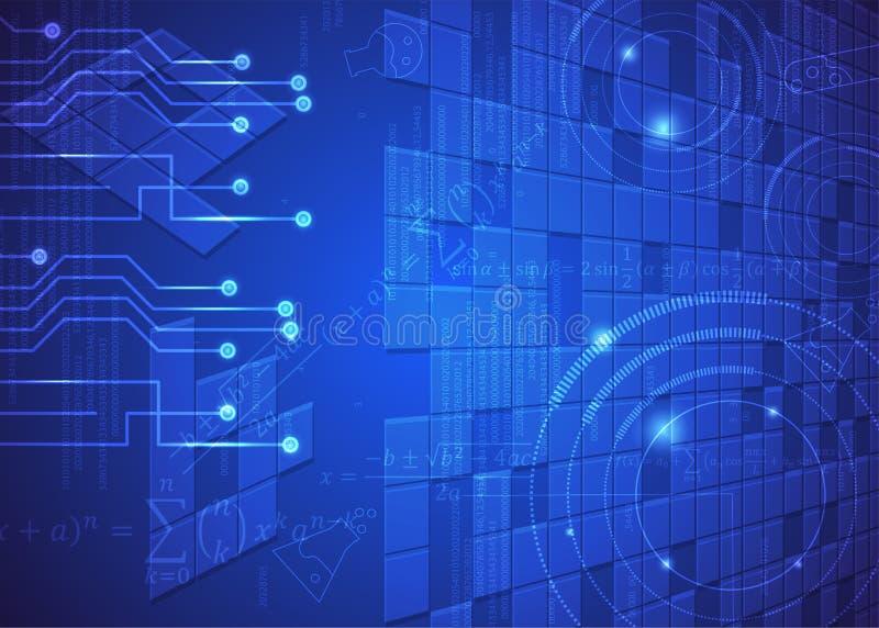Fórmulas abstratas de background_20_of, código, sinais e placas matemáticas, conceito de projeto da tecnologia digital e ciência ilustração do vetor