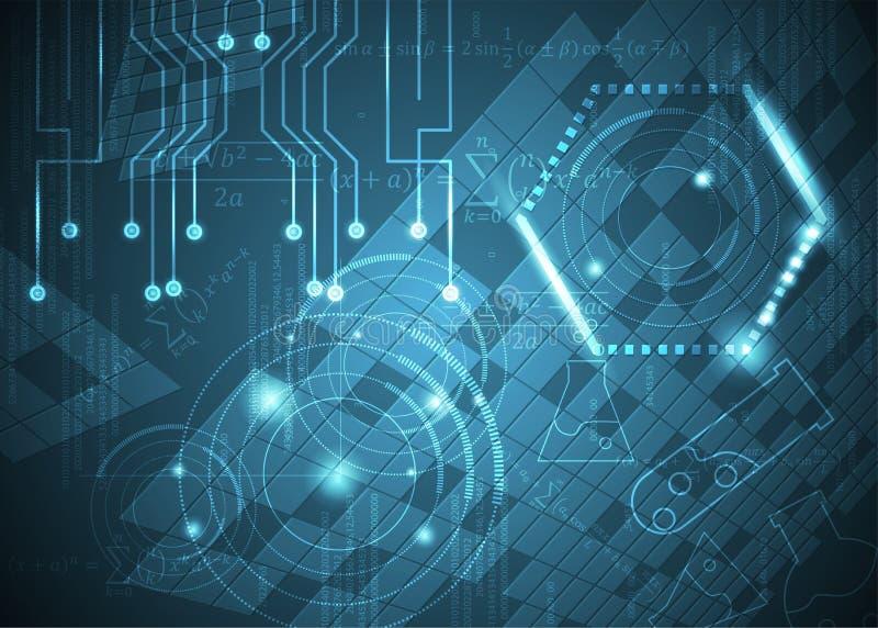 Fórmulas abstratas de background_23_of, código, sinais e placas matemáticas, conceito de projeto da tecnologia digital e ciência ilustração do vetor