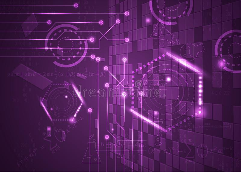 Fórmulas abstratas de background_26_of, código, sinais e placas matemáticas, conceito de projeto da tecnologia digital e ciência ilustração stock
