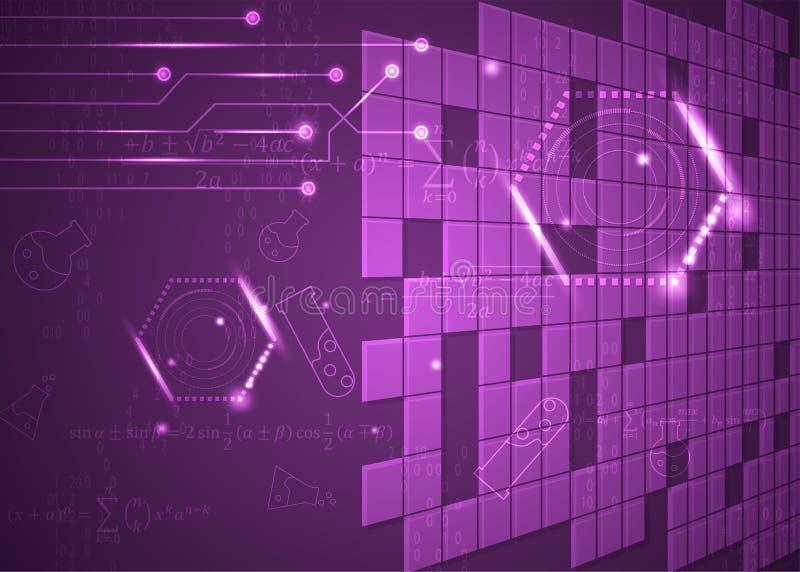 Fórmulas abstratas de background_9_of, código, sinais e placas matemáticas, conceito de projeto da tecnologia digital e ciência ilustração stock