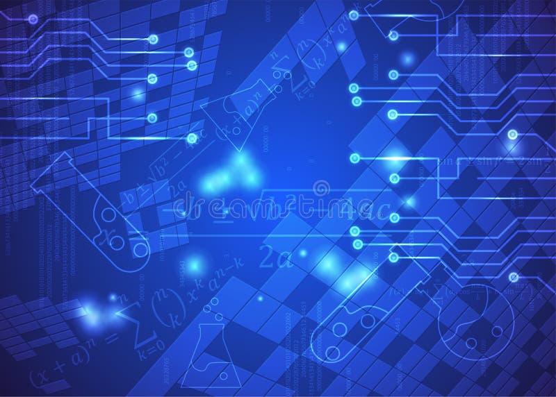 Fórmulas abstratas de background_31_of, código, sinais e placas matemáticas, conceito de projeto da tecnologia digital e ciência ilustração stock