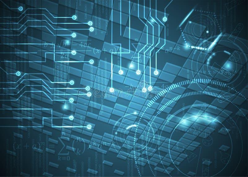 Fórmulas abstratas de background_29_of, código, sinais e placas matemáticas, conceito de projeto da tecnologia digital e ciência ilustração stock