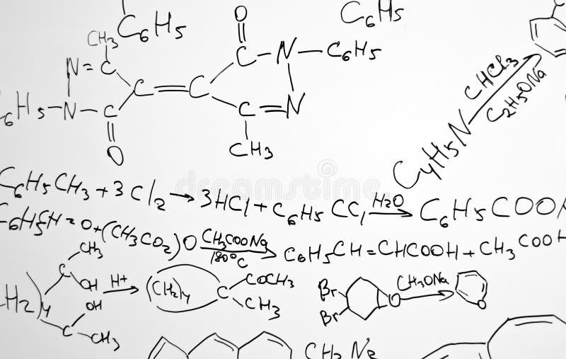 Fórmulas da ciência da química foto de stock
