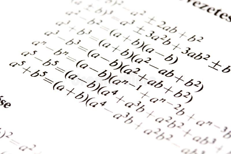Fórmulas de la álgebra imagenes de archivo
