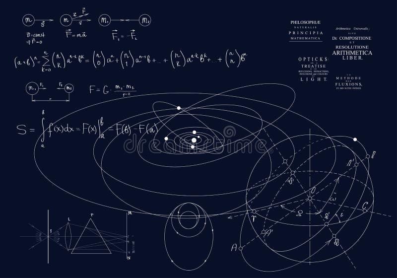 F?rmulas de mecanismo cl?ssicos, as leis de Newton F?sica do movimento dos corpos, das leis de gravidade e do sistema ?tico ilustração do vetor