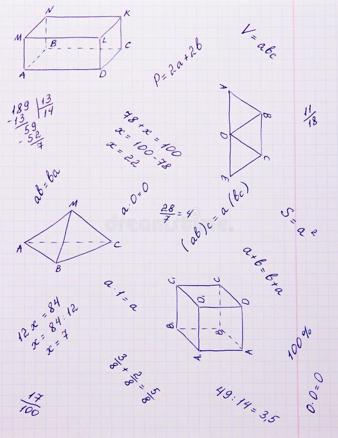 Fórmulas e formas geométricas ilustração stock