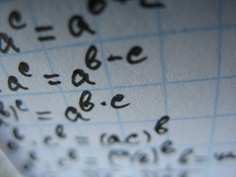 Fórmulas matemáticas fotos de archivo libres de regalías