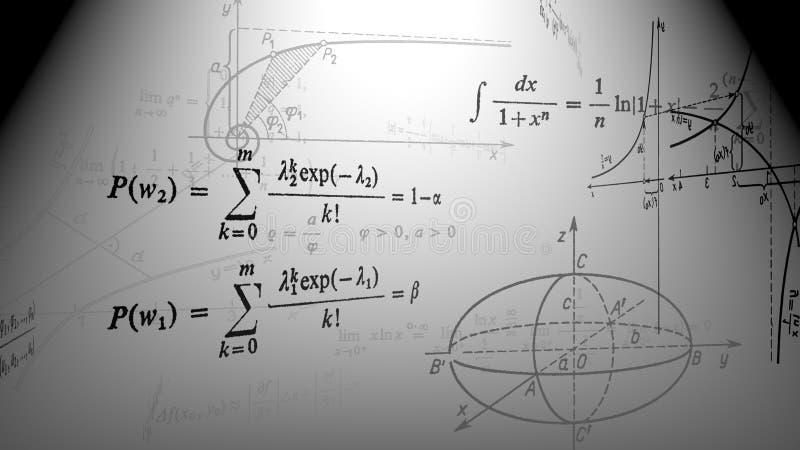 Fórmulas matemáticas e gráficos ilustração stock