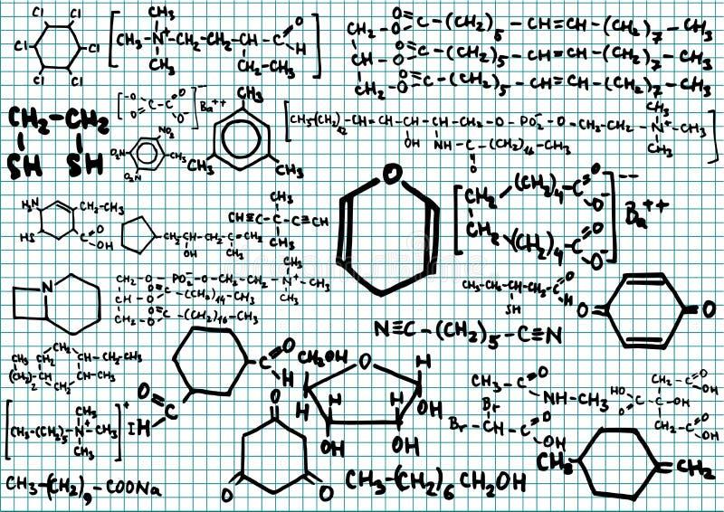 Fórmulas químicas stock de ilustración