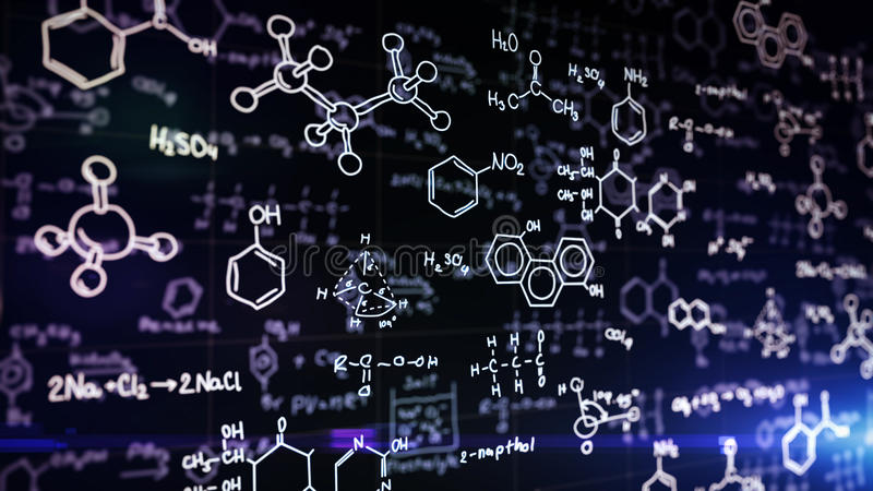 Fórmulas químicas en azul libre illustration