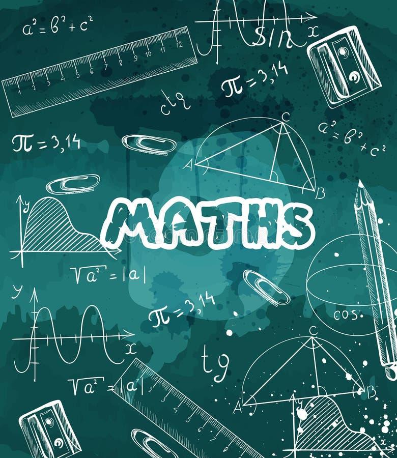 Fórmulas y creyones de la matemáticas dibujados en un vector de la pizarra stock de ilustración