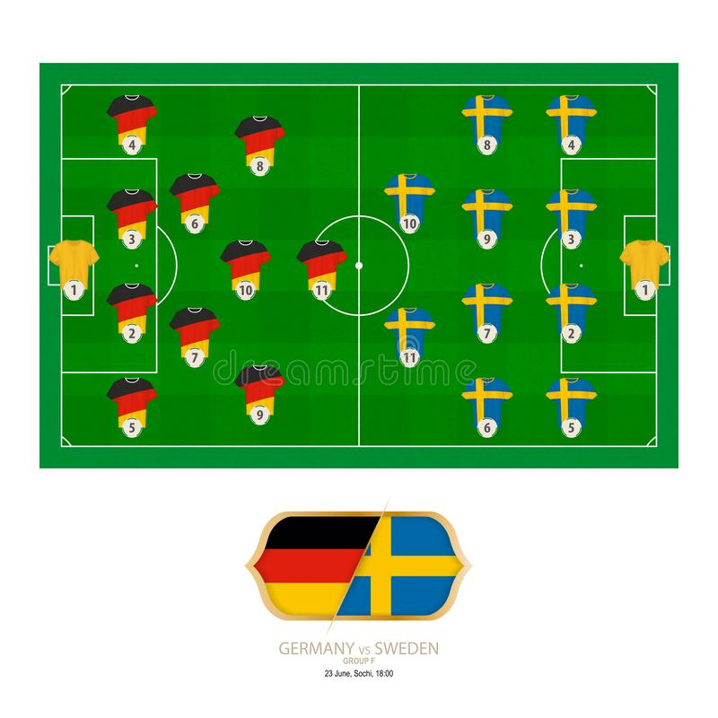 Fósforo de futebol Alemanha contra a Suécia ilustração do vetor
