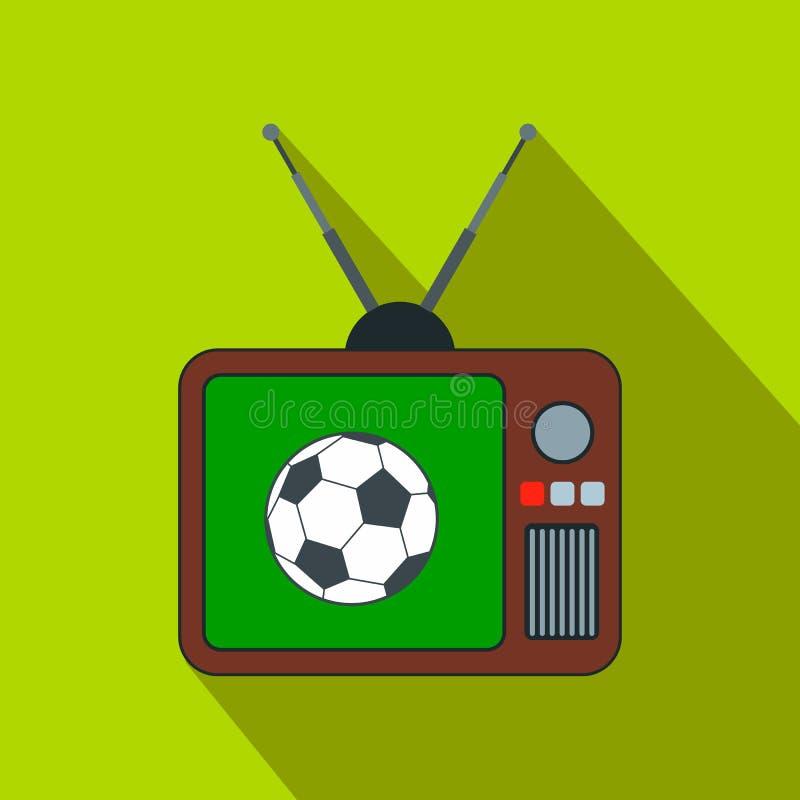 Fósforo de futebol em um ícone liso velho da tevê ilustração royalty free