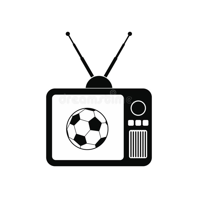 Fósforo de futebol em um ícone velho da tevê ilustração do vetor