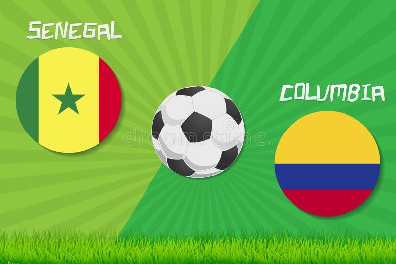 Fósforo de futebol Senegal contra Colômbia Fundo do esporte ilustração stock
