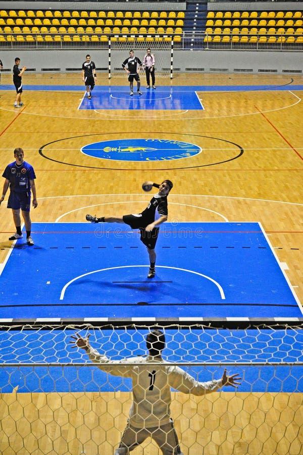 Fósforo do handball, penalidade fotografia de stock