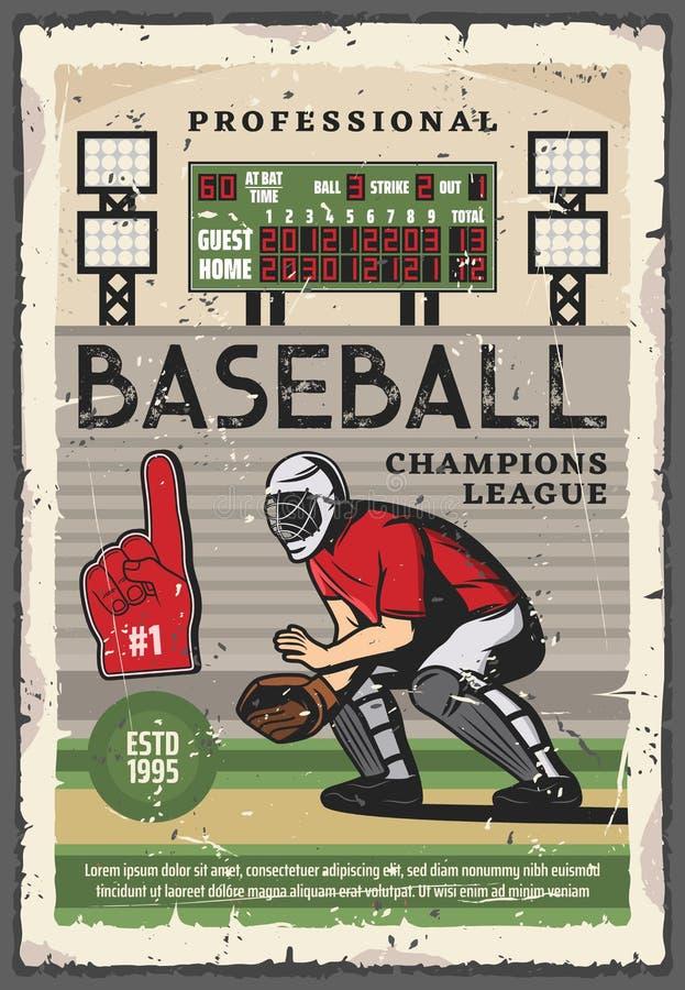 Fósforo do jogo do esporte do basebol com jogador do coletor ilustração royalty free