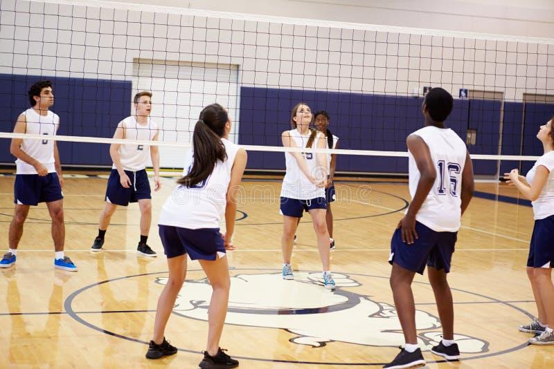 Fósforo do voleibol da High School no ginásio fotografia de stock royalty free