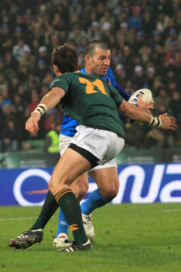 Fósforo Italy do rugby contra África do Sul - Craig Gower imagem de stock