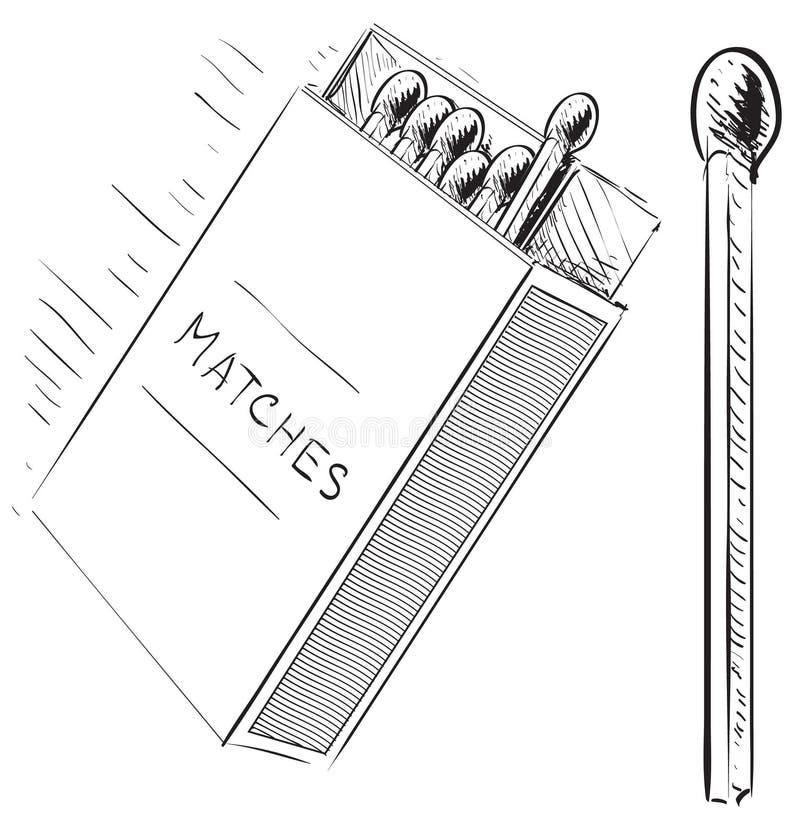 Fósforos e ícone da garatuja do esboço da caixa ilustração stock