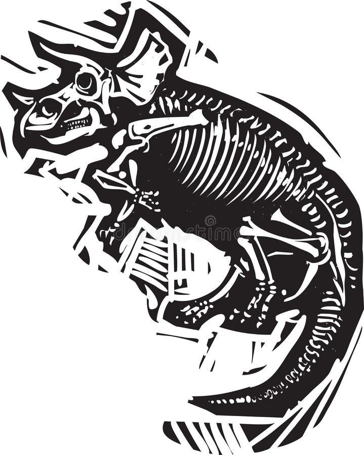 Fósil del Triceratops stock de ilustración